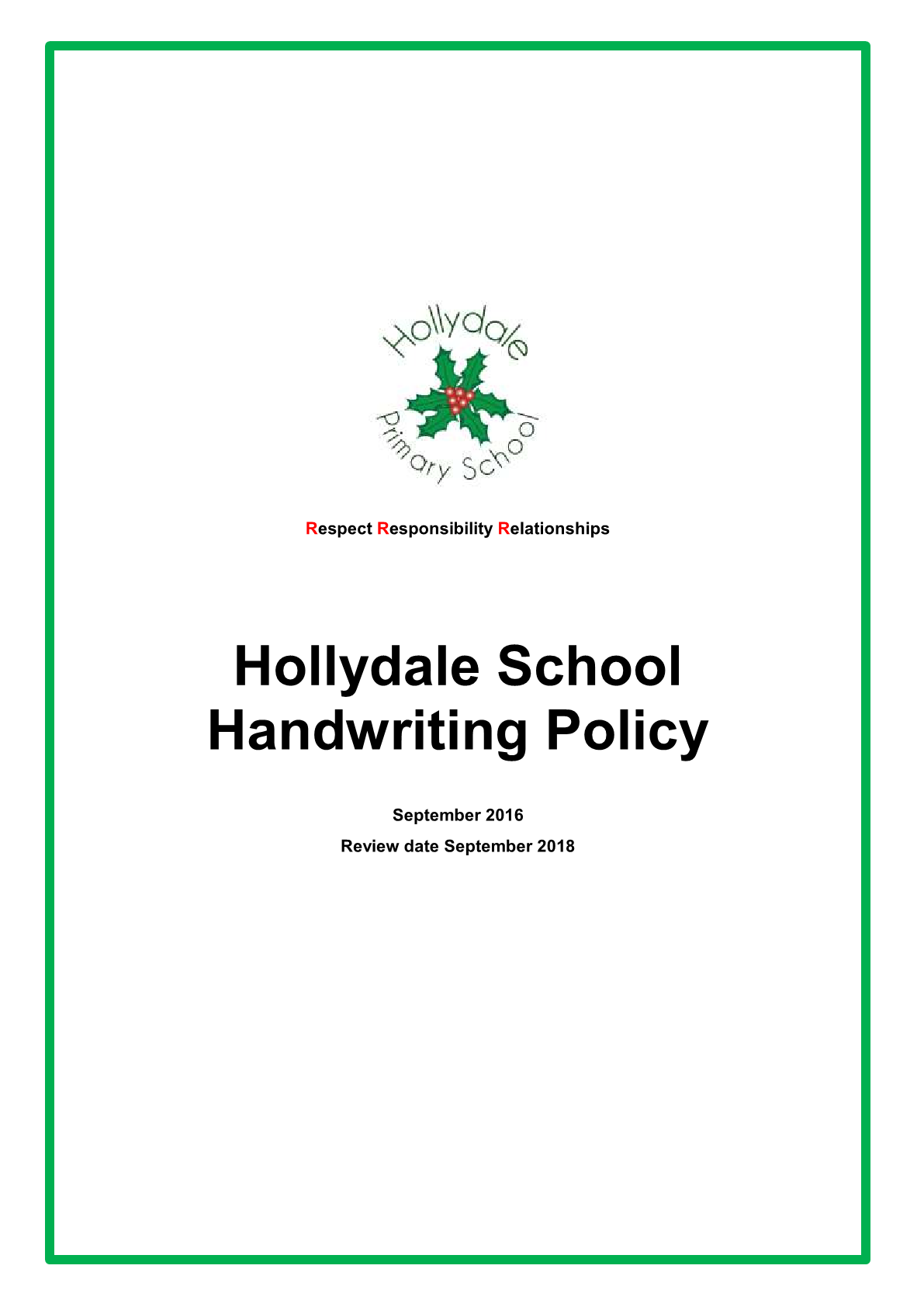 Handwriting Policy