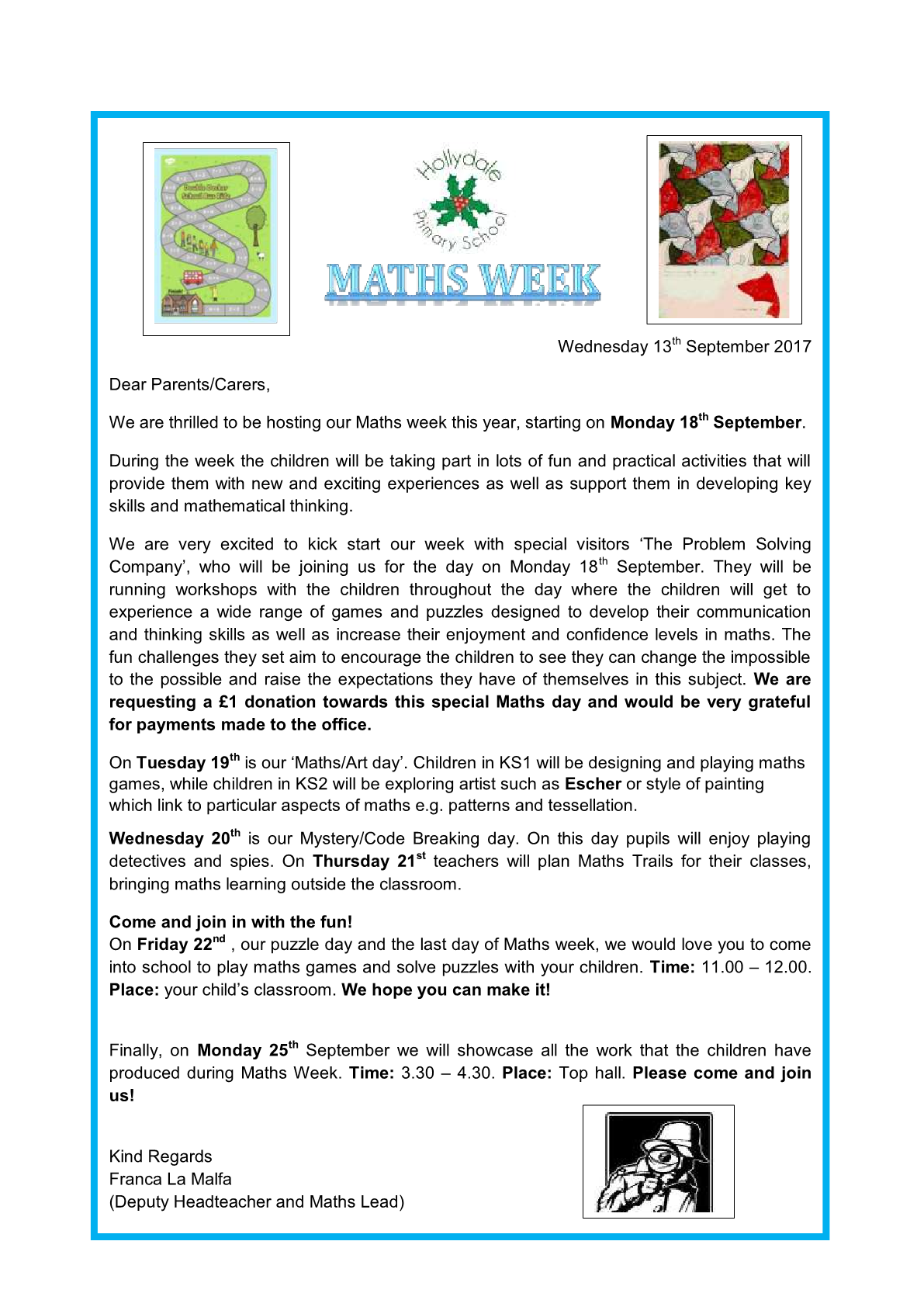 Maths Week Letter