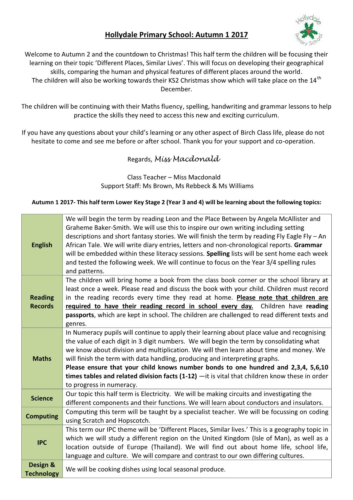 Year 3 Class Newsletter 2017