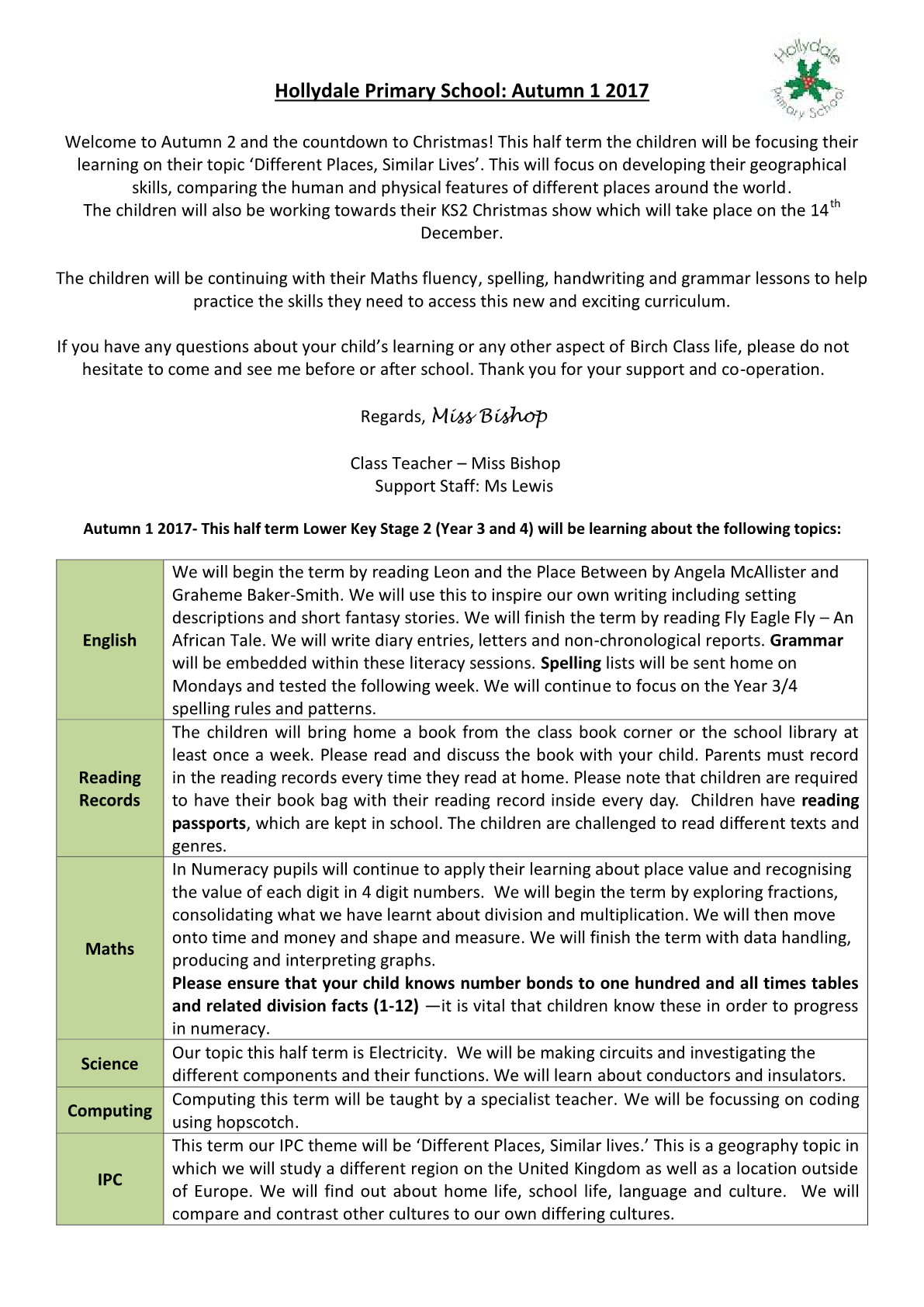 Year 4 Class Newsletter 2017