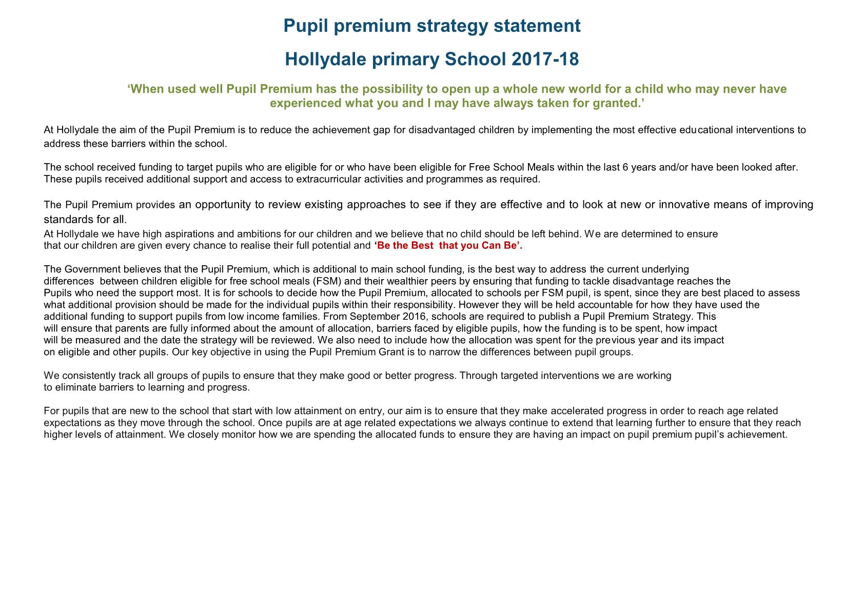 Pupil Premium 2017-2018