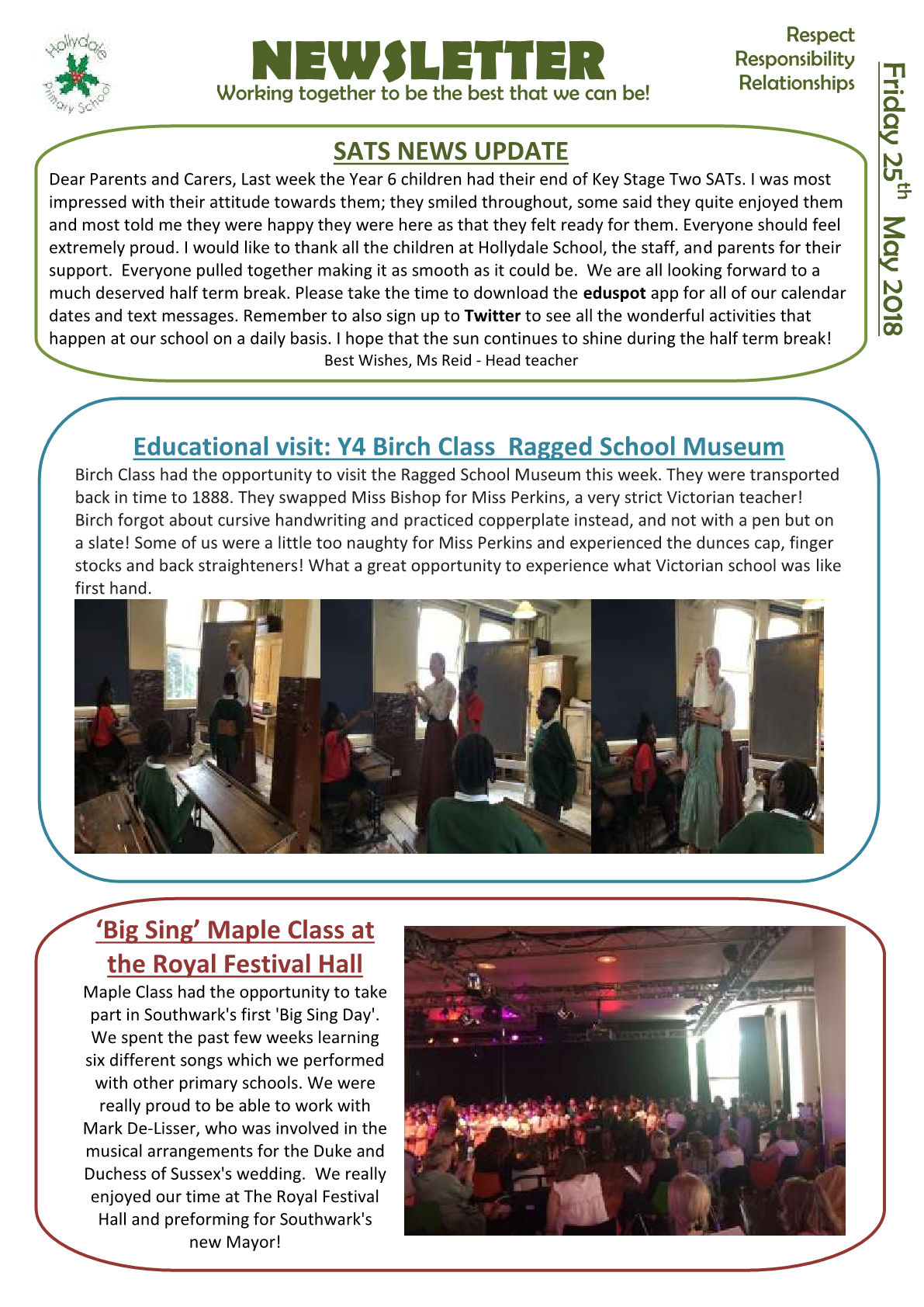 Newsletter 25th May 2018