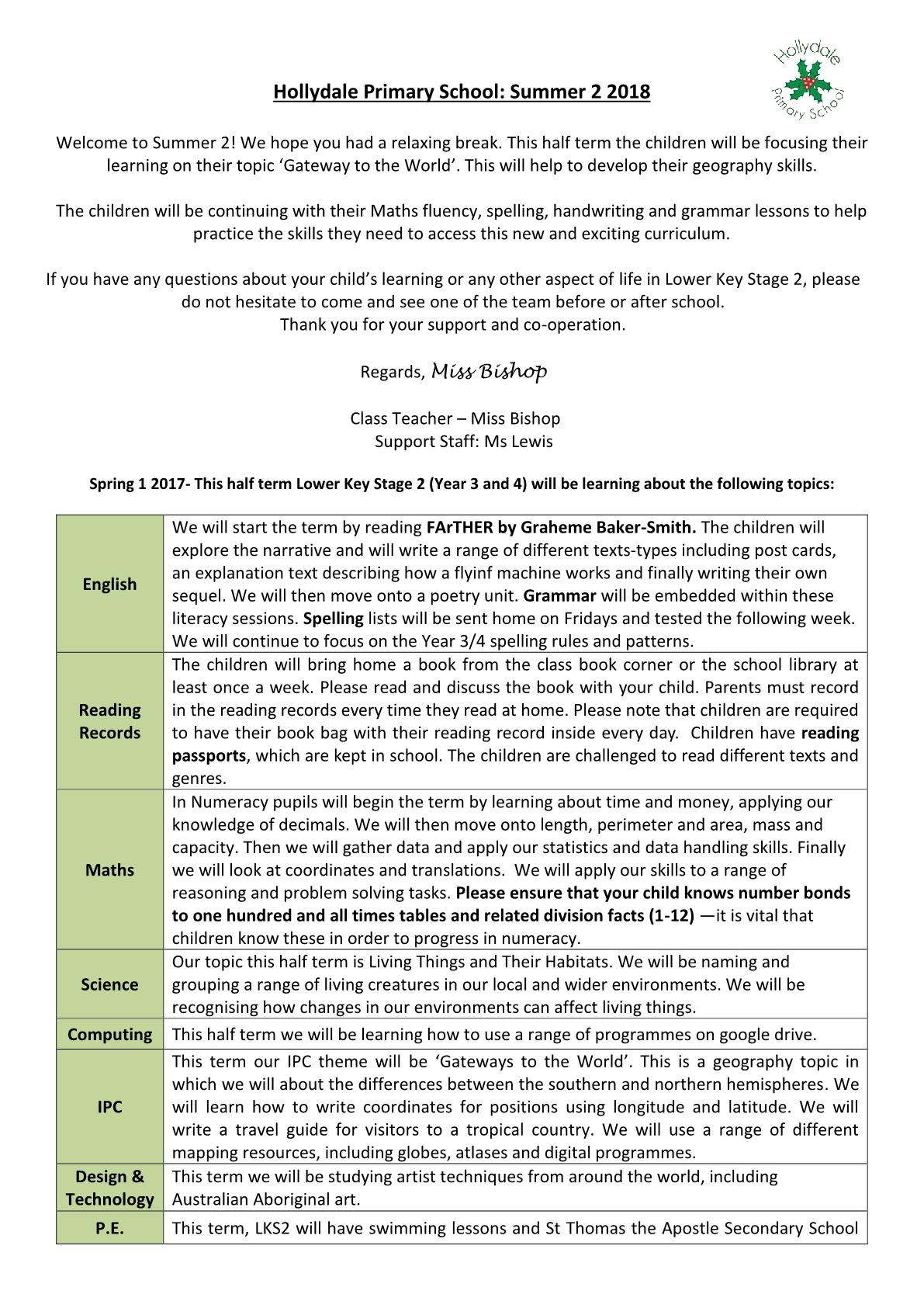 LKS2 Birch Class Newsletter 2018