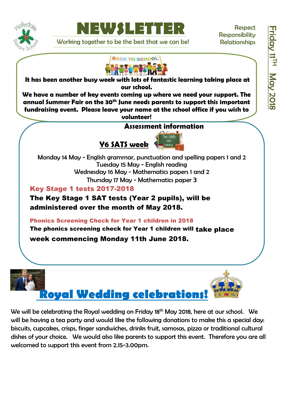 Newsletter 11th May 2018