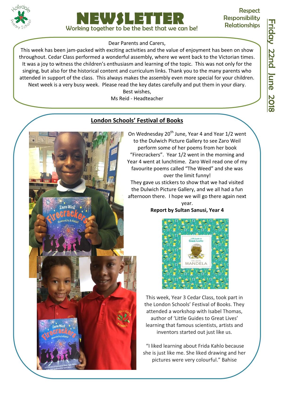 Newsletter 22nd June 2018