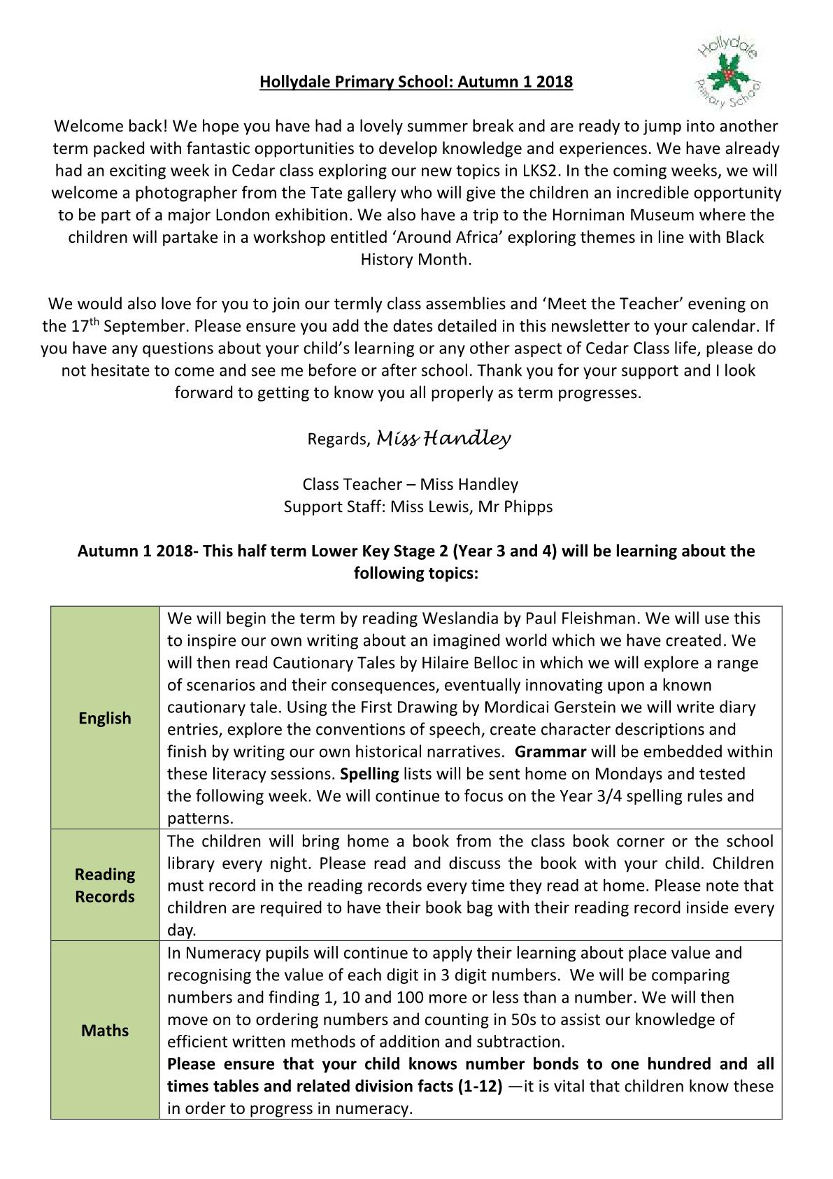 LKS2 Cedar Class Newsletter 2018