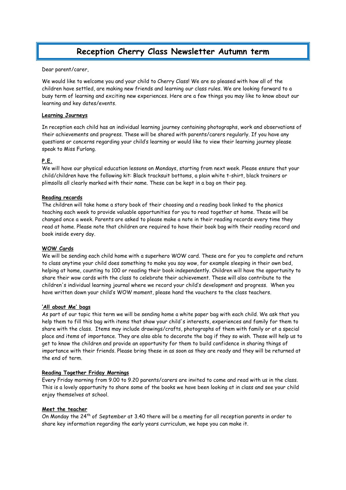 Cherry Class Newsletter 2018