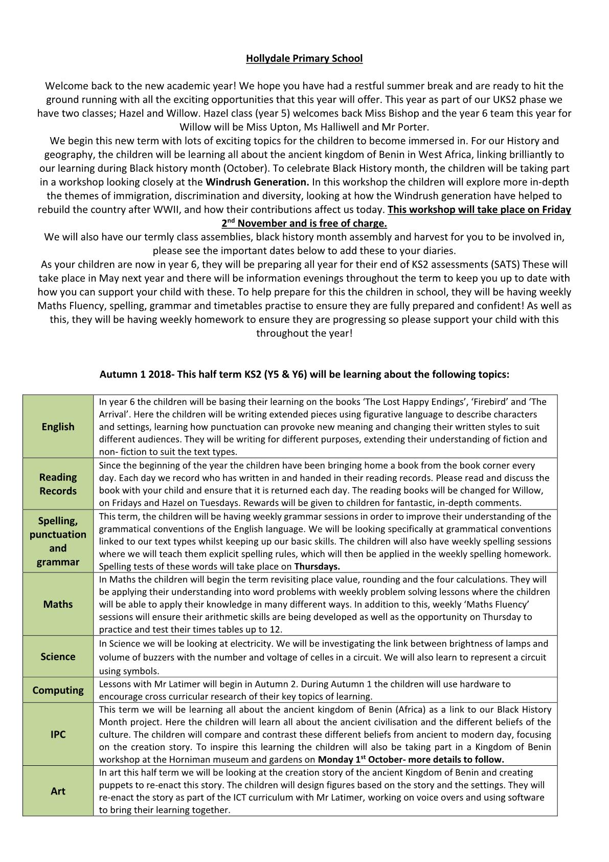 Willow Class Newsletter 2018