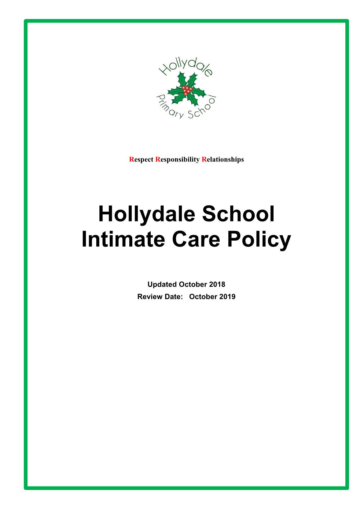 Intimate Care Policy