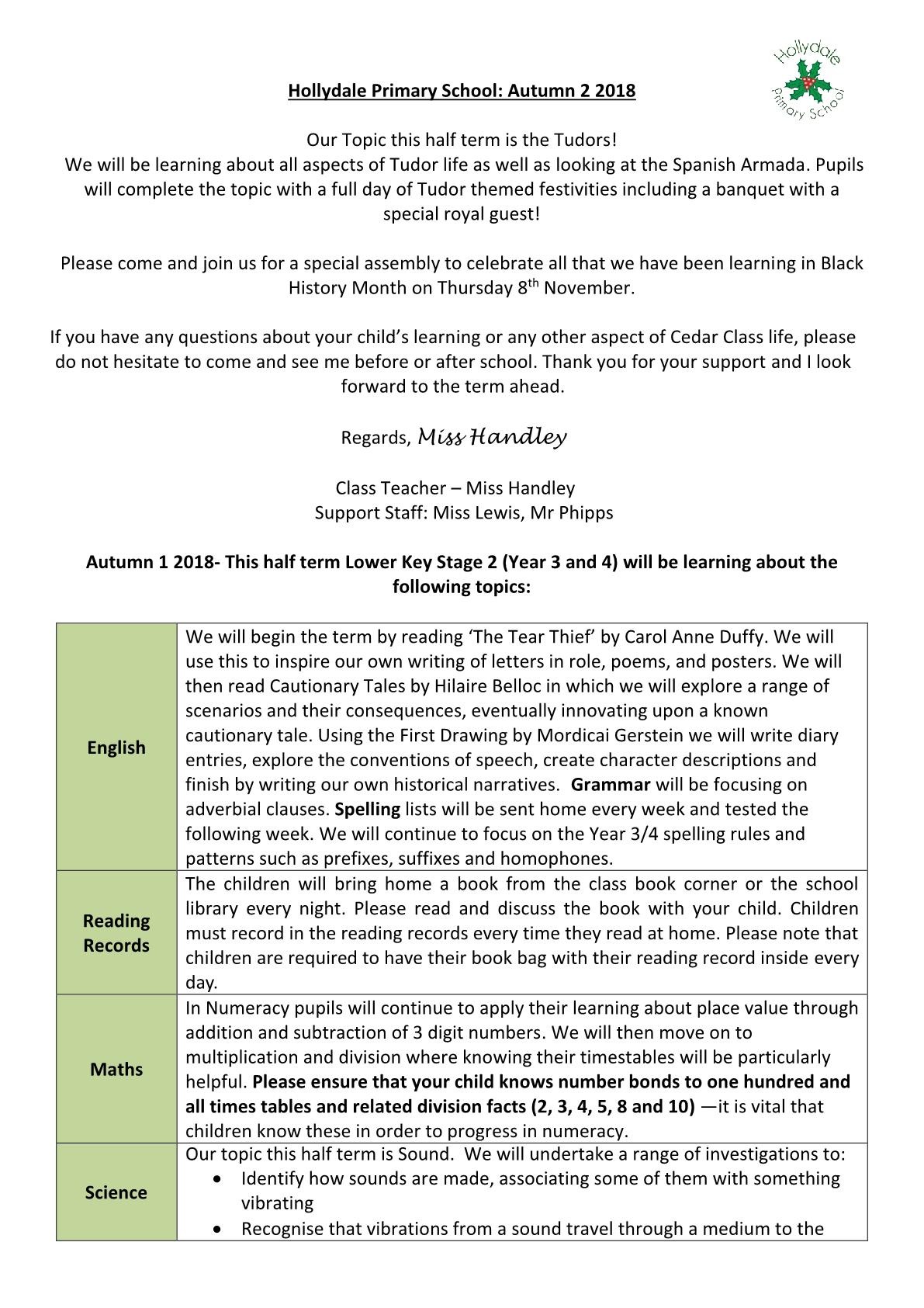 Cedar Class Newsletter 2018