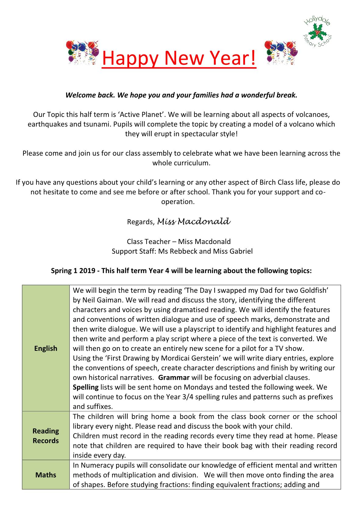Birch Class Newsletter 2019