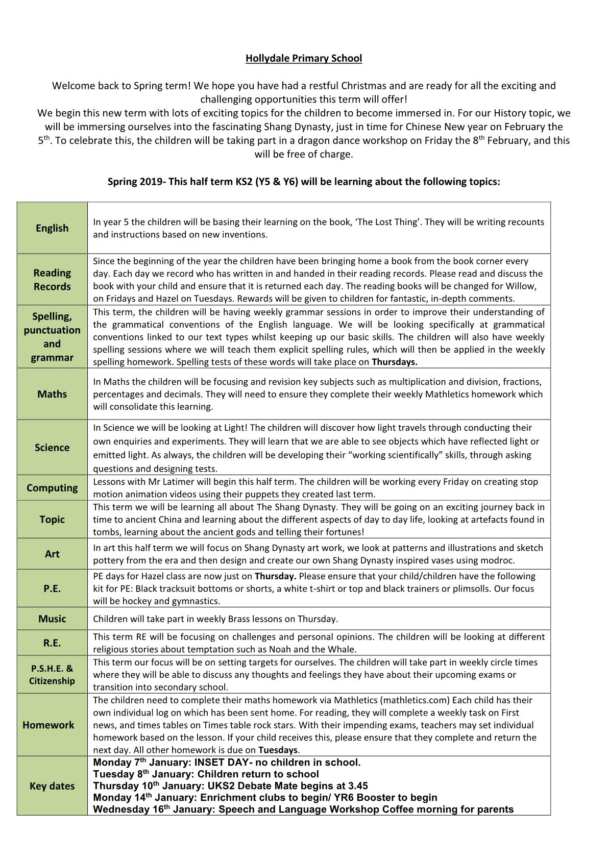 Hazel Class Newsletter 2019