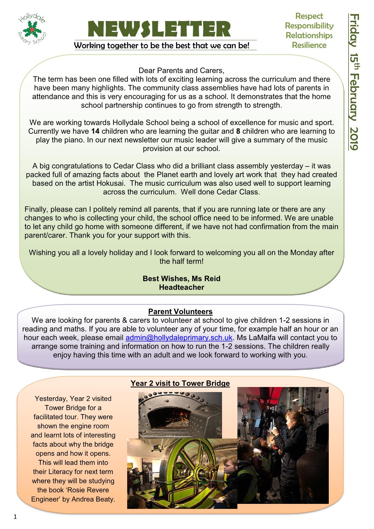 Newsletter 15th February 2019