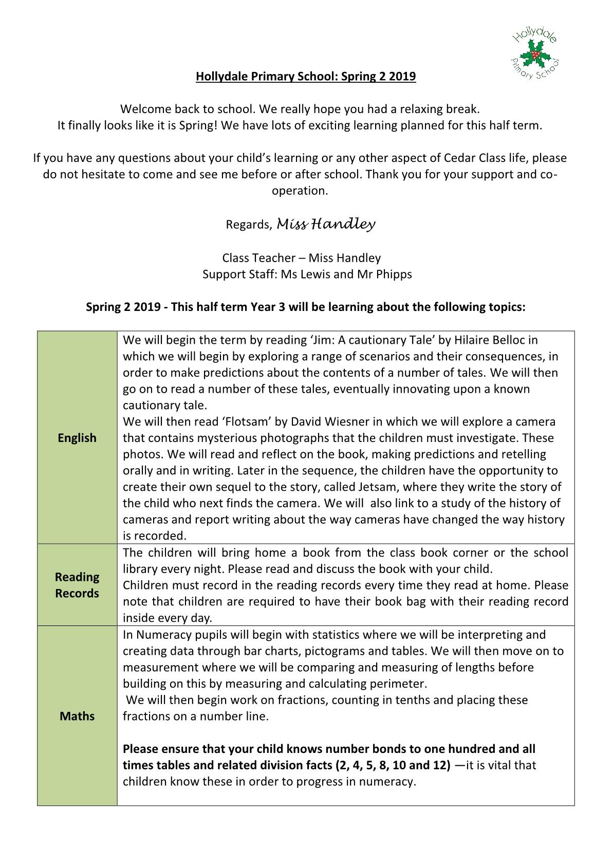 Spring 2 Cedar Newsletter 2019