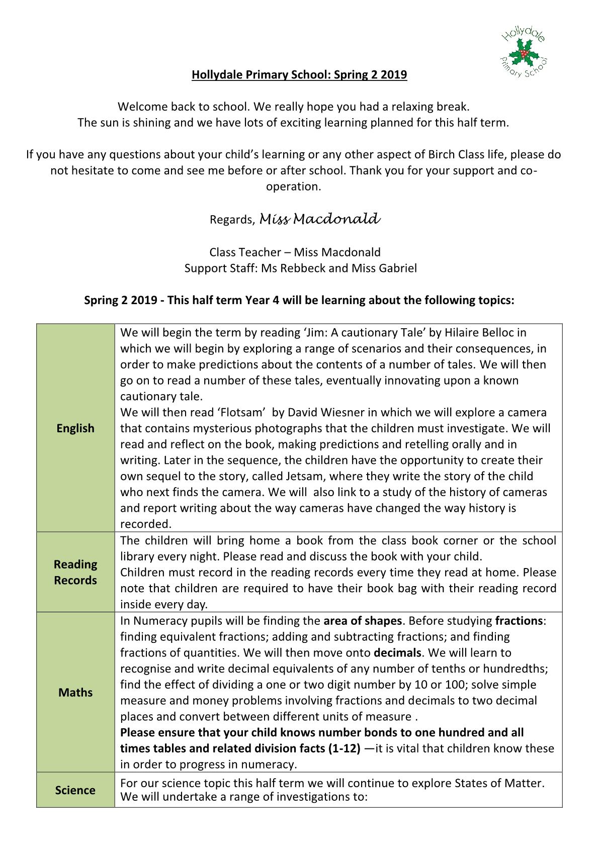 LKS2 Spring 2 Newsletter 2019